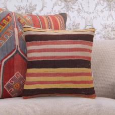 Rustic Striped Kilim Cushion Hand Woven Interior Decor Rug Throw Pillow