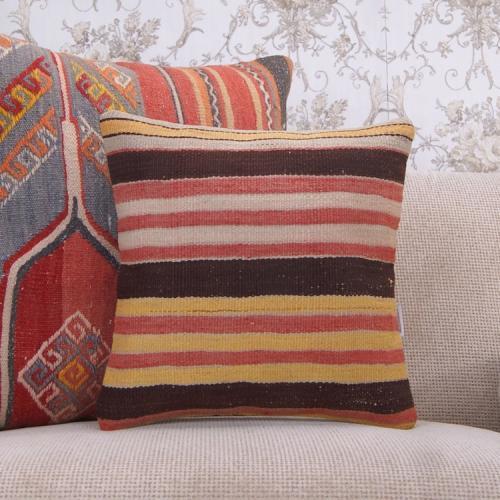 Rustic Striped Kilim Cushion Hand Woven Interior Decor Rug Throw Pillow