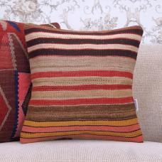 "Striped Handmade Rug Cushion Cover 16x16"" Colorful Turkish Kilim Pillow"