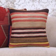 """Striped Retro Decor Throw Pillow 16x16"""" Anatolian Kilim Rug Cushion"""