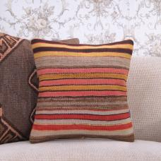 "Turkish Decorative Kilim Pillow Striped 16x16"" Colorful Rug Cushion"