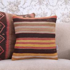 "Vintage Decorative Pillowcase Handmade 16"" Ethnic Striped Kilim Pillow"