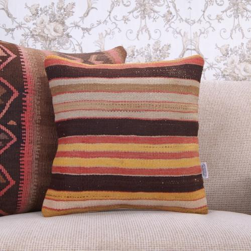 "Vintage Decorative Pillowcase Handmade 16"" Ethnic Striped Kilim Pillow"