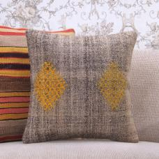 "Yellow Embroidered Kilim Pillow Cover 16x16"" Square Gray Rug Cushion"