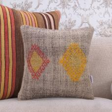Yellow Embroidery Gray Kilim Cushion Cover 16x16 Handmade Square Pillow