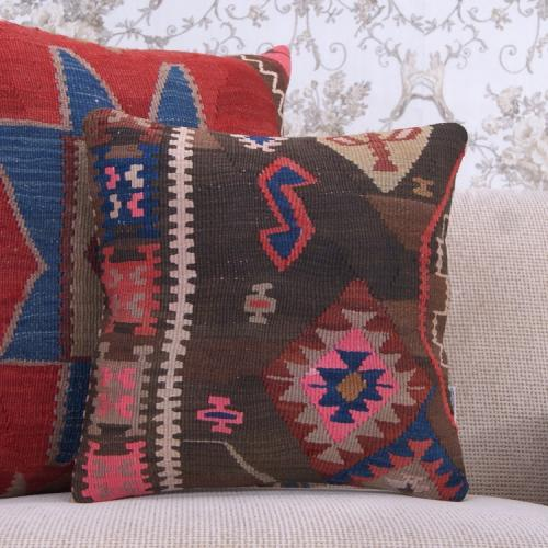 "Bohemian Style Handmade Kilim Throw Pillow 16x16"" Colorful Rug Cushion"