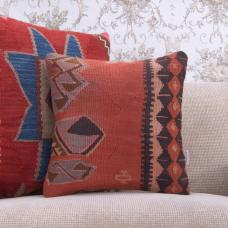 "Ethnic Handmade Kilim Pillow 16x16"" Antique Tribal Rug Cushion Cover"