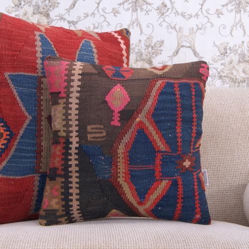 "Southwestern Kilim Pillowcase 16x16"" Vintage Indigo Blues Rug Cushion"