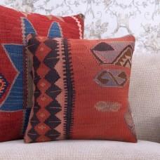 "Vintage Turkish Kilim Pillowcase 16x16"" Antique Decorative Rug Cushion"