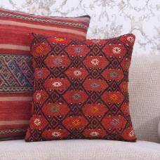 "Anatolian Art Square Red Kilim Cushion 16"" Eclectic Decor Throw Pillow"