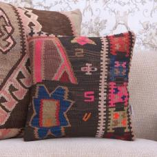 Bohemian Pillow 16x16 Vintage Kilim Cushion Colorful Handmade Rug Throw