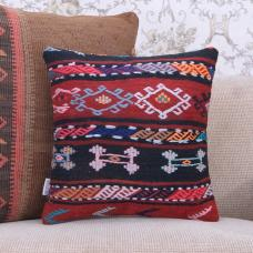 "Boho Chic Square Kilim Pillow Embroidered 16x16"" Handmade Rug Cushion"
