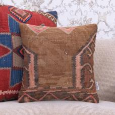 "Contemporary Square Kilim Pillow 16x16"" Retro Turkish Rug Cushion Cover"