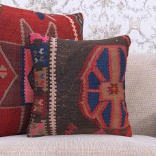 "Cottage Decor Accent Throw Pillow 16x16"" Vintage Kilim Cushion Cover"
