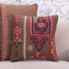 "Eastern Kilim Cushion 16x16"" Handmade Rug Throw Colorful Boho Pillow"