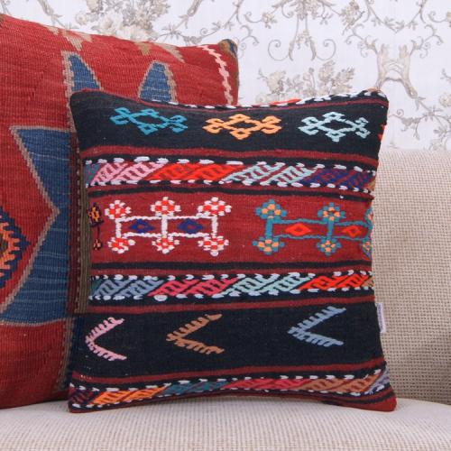 "Eclectic Decor Throw Pillow 16x16"" Embroidered Bohemian Kilim Cushion"