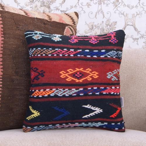 "Embroidered Cosy Style Decor Throw Handmade 16x16"" Turkish Kilim Pillow"