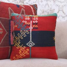 "Embroidered Red & Black Kilim Cushion Anatolian 16x16"" Rug Pillowcase"