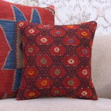 "Red Embroidered Kilim Pillow Square 16"" Decorative Handmade Rug Cushion"