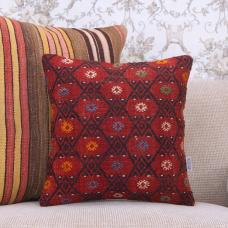 Red Handmade Kilim Throw Pillow 16x16 Embroidered Anatolian Rug Cushion