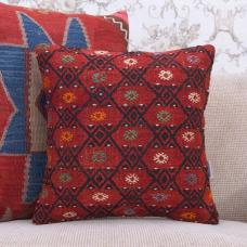 "Red Handmade Rug Pillow 16x16"" Embroidered Square Turkish Kilim Cushion"