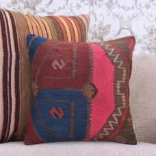 "Retro Bohemian Kilim Pillowcase 16x16"" Shabby Rug Throw Pillow Cover"