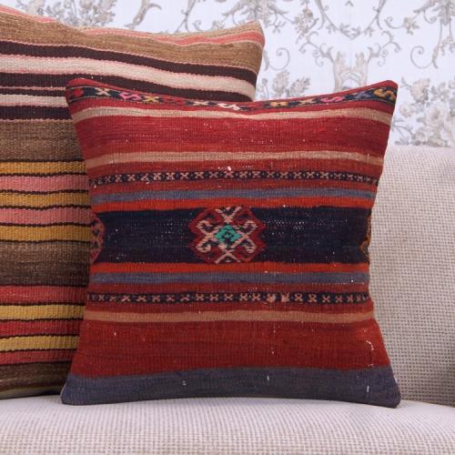 """Anatolian Embroidered Decorative Kilim Throw Pillow 16"""" Retro Cushion"""