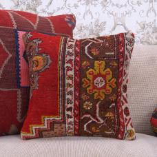 "Anatolian Red Rug Pillow 16"" Oriental Handmade Square Retro Decor Throw"