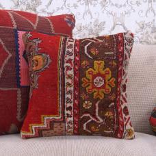 "Anatolian Red Rug Pillow 16"" Oriental Handmade Square Retro Decor Throw"