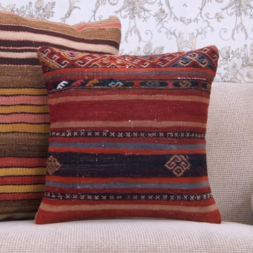 "Anatolian Tribal Kilim Pillow 16x16"" Decorative Sofa Couch Floor Throw"