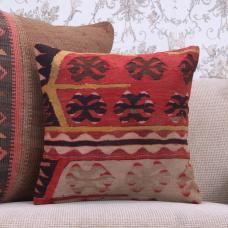 "Antique Decorative Kilim Pillow Cover 16"" Ethnic Anatolian Sofa Throw"