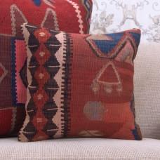 "Antique Kilim Pillow Decorative Colorful 16x16"" Turkish Rug Cushion"