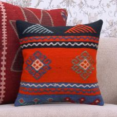 "Colorful Square Kilim Rug Cushion 16x16"" Boho Decor Sofa Throw Pillow"