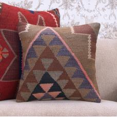 "Contemporary Kilim Pillow Cover 16x16"" Decorative Turkish Rug Cushion"