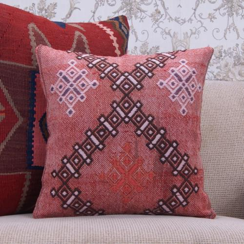 Eclectic Red Kilim Rug Throw Pillowcase Embroidered Vintage Cushion