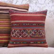 Embroidered 16x16 Kilim Pillow Ethnic Turkish Vintage Kelim Rug Cushion