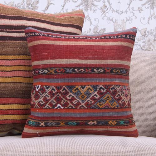 Embroidered 16x16 Kilim Pillow Ethnic Turkish Vintage Kelim Rug Cushion
