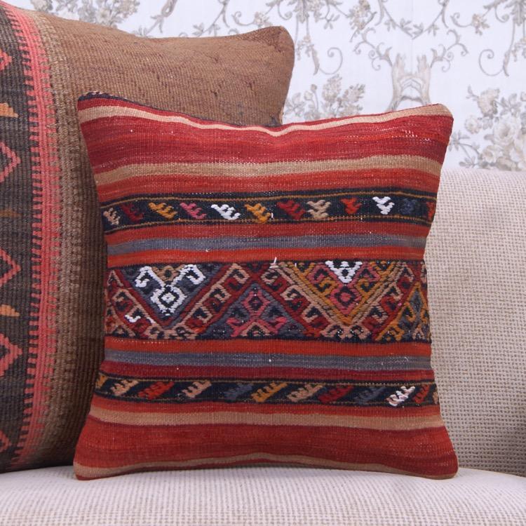 Embroidered Retro Kilim Pillow Decorative Anatolian Kelim