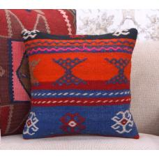 "Embroidered Vintage Kilim Pillowcase 16x16"" Ethnic Handmade Rug Pillow"