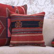 "Ethnic Decorative Kilim Pillow 16x16"" Anatolian Handmade Rug Cushion"