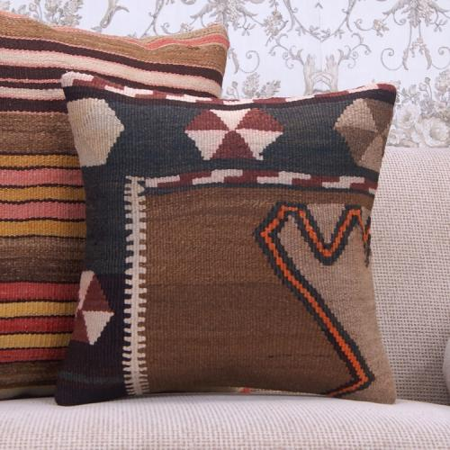 "Ethnic Decorative Kilim Pillow Case 16x16"" Hand Woven Tribal Cushion"