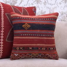 Handmade Kilim Rug Pillowcase 16x16 Ethnic Decorative Sofa Couch Throw