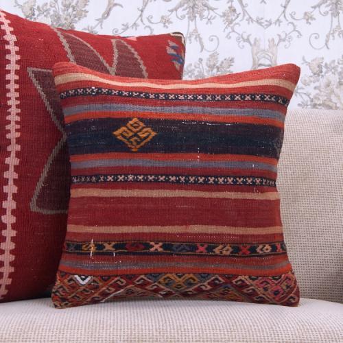 Handmade Kilim Rug Pillowcase 16x16 Ethnic Decorative Sofa Couch Throw