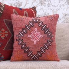 Nomad Art Embroidered Kilim Pillow Square Red Decorative Rug Cushion
