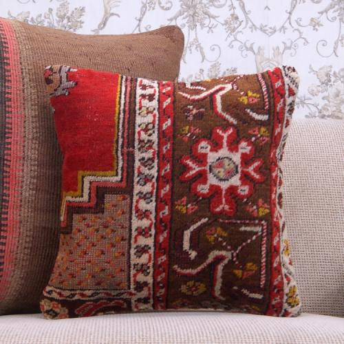 "Old Handmade Cushion Cover Red 16x16"" Retro Turkish Rug Throw Pillow"