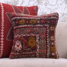 "Oriental Turkish Rug Pillowcase Vintage 16x16"" Anatolian Square Cushion"