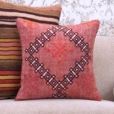 "Red Embroidered Kilim Rug Throw Pillow Decorative 16"" Vintage Cushion"