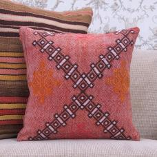 Red Embroidered Kilim Throw Pillow 16x16 Vintage Turkish Kelim Cushion