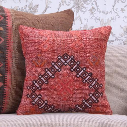 """Red Kilim Pillow 16"""" Embroidered Eclectic Interior Decor Rug Cushion"""