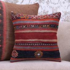 "Retro Anatolian Kilim Rug Pillow 16"" Vintage Decor Throw Sofa Cushion"